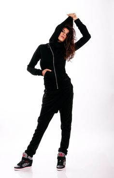 Black sports set / Asymmetrical set / Hooded jacket / Drop Crotch Pants / Extravagant Black Harem Trousers / Casual cotton set / Tracksuit