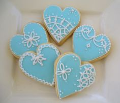 Blue Lace Hearts by Sugary Flower, via Flickr