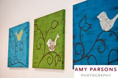 bird wall art made from canvas craft paint and fabric appliques.... Except owls would be my choice!
