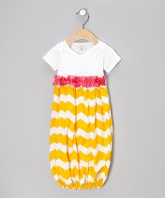 Take a look at this Yellow & White Zigzag Ruffle Gown - Infant on zulily today!