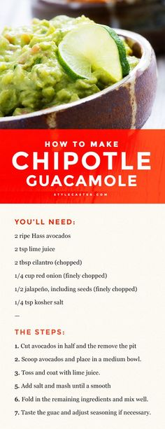 Chipotle Guacamole Recipe – It only takes seven steps to complete! All you need is 2 avocados lime juice cilantro red onion a jalepeno and salt. Chipotle Recipes, Mexican Food Recipes, Vegan Recipes, Cooking Recipes, Chipotle Guacamole Recipe Copycat, Mexican Guacamole Recipe, Homemade Guacamole, Dishes Recipes, Salads