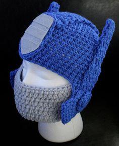 transformers Optimus Prime Crochet Hat