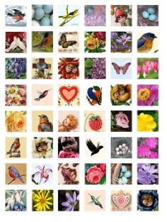 Free new age Collage Sheets for Pendants | Harbingers of Spring - Scrabble Tile Collage Sheet - 1x1 - Digital