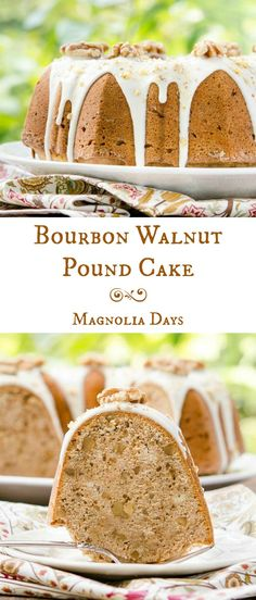 Cake is loaded with bourbon soaked walnuts, topped with bourbon glaze ...