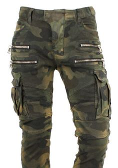 Mens Panel Rider Multi Zippers Cargo Pockets Military Camo Jeans Biker Pants #KoreanBrand #SlimSkinny
