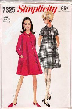 """VINTAGE SEWING PATTERN Coat Dress 7325 SIMPLICITY SIZE 16 BUST 36 HIP 38"""" UNCUT"""