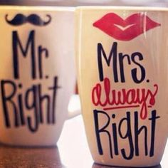 Mugs for the bride and groom.