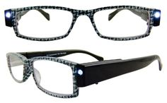 Houndstooth Glasses that light up to make reading easier!