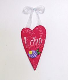 Pink Hanging LOVE Heart with White Ribbon by barbsheartstrokes