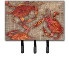 Cooked Crabs on Faux Burlap Leash or Key Holder