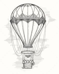 Retro Hot Air Balloon Sketch - Travel Conceptual
