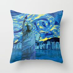 Liberty Parody starry night THROW PILLOW CASE @pointsalestore Society6  #pillow #case #trhowpillow #cover #digital #art #painting #ink #watercolor #popart #comic #illustration #liberty #trump #president #donaltrump #starrynigt #vangogh #americafirst #leader #victory #freedom #scifi #retro #buildings