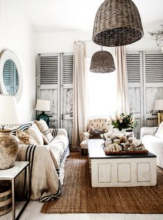 White , Shutter / architectural texturing, basket lamps, coffee table , casual couch , BEACH, Stylish !