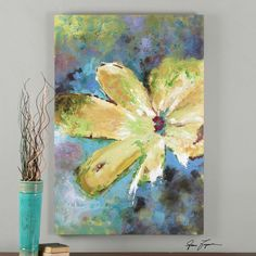 "LARGE 60"" VIBRAN HAND PAINTED CANVAS TUSCAN FLOWERS PAINTING WALL ART MODERN #ArtDeco"