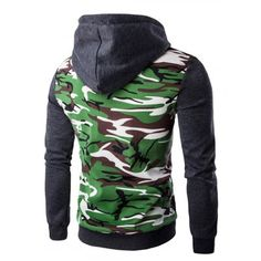 Hooded Camouflage Splicing Zip-Up Long Sleeve Hoodie For Men #men, #hats, #watches, #belts, #fashion, #style
