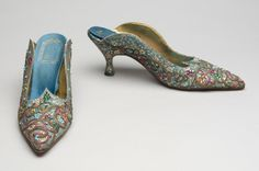Shoes, fabric, leather, metallic cord, rhinestones, beads, Vivier for Dior, 1950-60's.