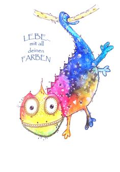 Lebe mit all deinen Farben-Poster by Sabine Brengel Malwerkstatt mit Herz Live with all your colors Poster by Sabine Brengel Painting workshop with heart Watercolor Animals, Watercolor Cards, Watercolour Painting, Painting Workshop, Happy Paintings, Happy Animals, Whimsical Art, Art Plastique, Animal Paintings
