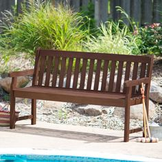 Coral Coast Amherst Straight Back Outdoor Wood Garden Bench - BCH0090210810