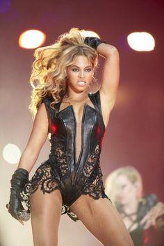 Super Bowl XLVII Celebrity singer Beyonce Knowles performing during halftime show of Baltimore Ravens vs San Francisco 49ers game at MercedesBenz...