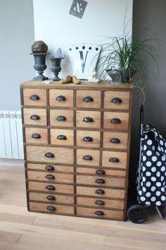 Petit séjour à la maison pour ce meuble d'atelier chiné avant de partir vers le futur Atelier-Boutique ! Enfin si je peux m'en séparer !!