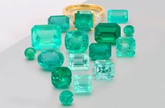 """""""Eye flawless emeralds are a rarity. Mother Nature nearly always makes them with many interesting inclusions. They are in fact, the most heavily flawed of the popular gemstones. Which makes this collection all the more unique. Sizes from .50 carats to 7.40 carats."""""""