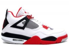 308497-110 Air Jordan 4 Fire Red (White/Fire Red/Black) Basketball Shoes