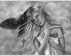 Bittersweet Angel Art Print Glossy Emo Fantasy Girl by zindyzone