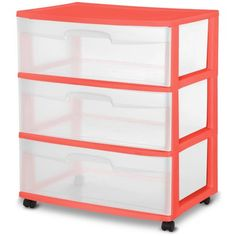 Sterilite 3-Drawer Cart, Coral Fire, Navy and mint green, $18 each