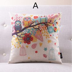 Owl abstract pillow for couch modern linen decorative pillows 18inch