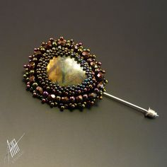 Bead embroidery beadwork beaded Baniri pin from by StudioAILLIL