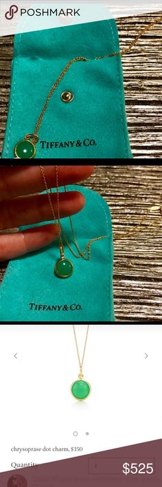 Tiffany & Co. Chrysoprase Dot Charm  Necklace Authentic. Very good condition. Worn few times total. Bought charm and gold chain separately. Paid $770+ serious buyers only and no low-ballers please. Price is firm, no trades. No offers sorry. No ret/sold as is. This was my newest piece but selling now due to my school tuition/expenses I need the funds. Thank you for your support and happy holidays :) Tiffany & Co. Jewelry Necklaces