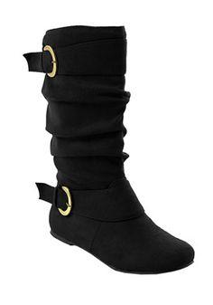 Brinley Co. PERTH-05-BLK-085 Footwear,Women's Buckle Faux Suede Slouch Boot, Women's Brinley Co. Boots Footwear