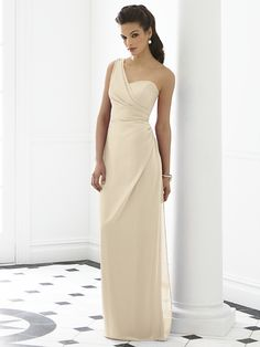 One shoulder full length nu-georgette dress w/ draped bodice and draped skirt.