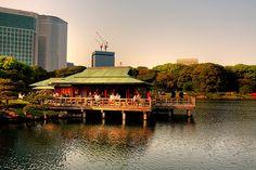 Tea House at Hamarikyu Garden near Tokyo Bay