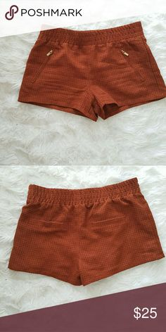 Trendy copper color shorts Trendy copper color shorts with gold zipper pocket Forever 21 Shorts