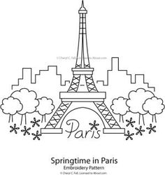 Embroider the Eiffel Tower in your favorite hand embroidery stitches. The free Springtime in Paris pattern can be worked in a solid color or multiple colors of surface embroidery, and would look terrific worked on kitchen towels, a pillow or an apron front.: Eiffel Tower - Springtime in Paris Pattern