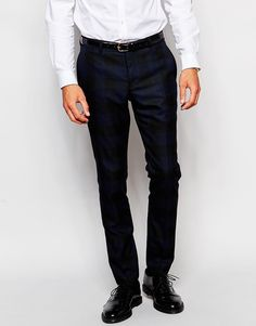 Selected Homme Tonal Buffalo Plaid Smart Pants in Skinny Fit