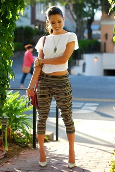 classic pumps with harem pants and loose top