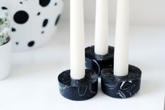 DIY Black Marbled Candle Holders | Fall For DIY