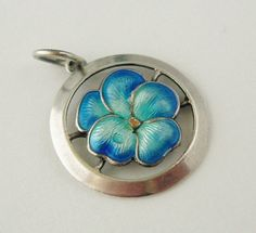 Art Nouveau Sterling Silver Pansy Charm with Blue Enamel, English