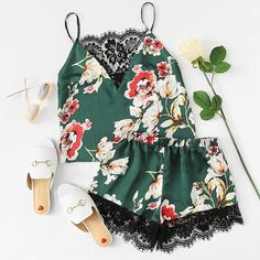 451299a954 #ad Floral Print Lace Insert Cami Top And Shorts PJ Set | SheIn | Price