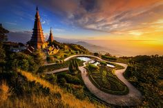 The Twin Royal Pagodas of Phra Mahathat Naphamethanidon, Thailand