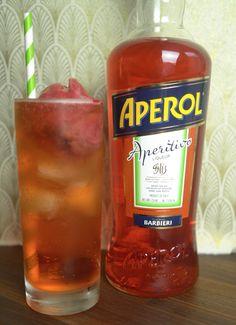 Aperol Sorbet Float with Aperol, Lemon-Lime Soda & Strawberry Sorbet # ...