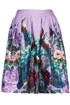 Purple Multicolor Peacock Print High Waist Skirt, @ Romwe $25