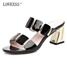 b2d5f83137ea10 LOVEXSS Patent Leather Slippers 2017 Summer Fashion Casual Beach Fringe  Woman Shoes Black White Heels Patent