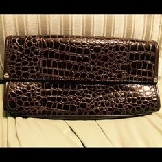 """Brown clutch Large faux croc clutch in brown snap closure. 6"""" x 11.5"""" x 2.25"""". Excellent condition. None Bags Clutches & Wristlets"""