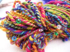 Handspun Yarn  Wool Beaded  3 Ply  Worsted by AuntPeggysCloset,