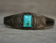 Old Pawn Navajo Native American Sterling Silver Turquoise Bracelet Cuff