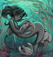 Vera And Some Rays by sharpie91 (I love this because in the oceans of my world, merfolk often have pet rays, which young ones like to ride on.)