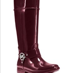 Micheal kors Fulton harness rain boots New in the box. Cherry red MICHAEL Michael Kors Shoes Winter & Rain Boots